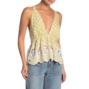 Free People Lunch Date Halter Top Embroidered